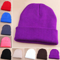 NEW Men Women Beanie Knit Ski Cap Hip-Hop Hat Blank Color Winter Warm Unisex Hat