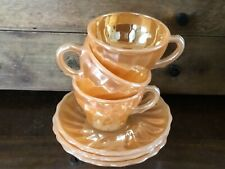 Vintage Fire King Peach Lustre  espresso cups and saucers  set of 3