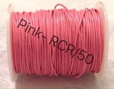Real Leather Cord Round - 0.5mm - 100M - Pink