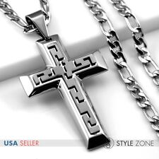 Men 3D Black Tone Stainless Steel Thick Cross Pendant w/ Figaro Link Necklace 5C
