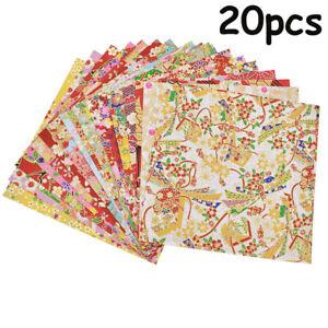 20pc Japanese Style Gold Lines Flower Paper Crane DIY Kids Origami Scrapbook