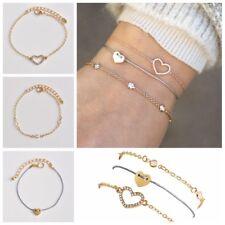 3Pcs/Set Multilayer Full Crystal Love Heart Chain Bracelet Women New Jewelry New