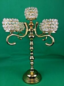 Vintage Candelabra 5 Arms Candle Holder Wedding Decor Crystal Shade Gold H:52 cm