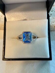 Blue Tanzanite and White Topaz Ring on Double Rhodium Plated Band Size 7