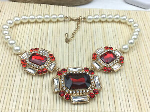 Fashion Necklace Rhinestone & White Faux Pearl Glass Plastic Ruby Crystal Gold