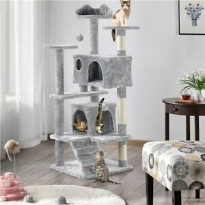 "54"" Cat Tree Tower Scratcher Post Play House Condo Furniture Pet House"