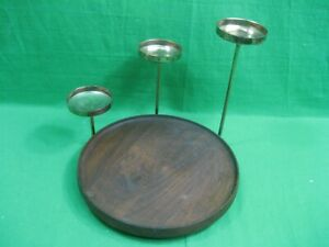 Vintage Wooden Tray with Three Brass Candle Holders
