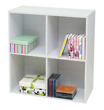 Kings Brand Furniture - White Wood 4 Cube Organizer Storage Bookcase