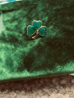 Vintage Irish Celtic Emerald Isle Gold Tone Shamrock Heart Brooch Pin Luck