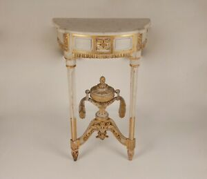 French 18th century Louis XVI Neoclassical console table marble top carved wood