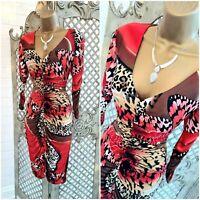Sara Bernshaw UK 10 Designer Red Butterfly Animal Ruched Front Wiggle Dress