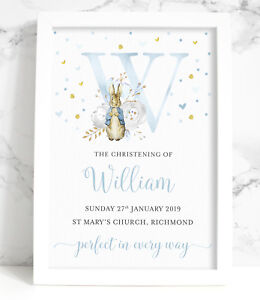 Peter Rabbit Personalised Initial Christening Baptism A4  New Baby, Blue or Pink