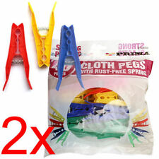 80PC COLOURED CLOTHES PEGS BAGS CLIPS WASHING LINE DRYING PLASTIC SPRINGS NEW