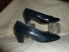 VINTAGE BALLY DARK NAVY  COURT SHOES  UK 4   MADE   IN  ENGLAND