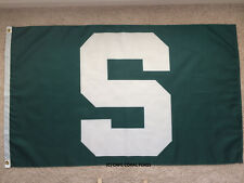 "MICHIGAN STATE MSU SPARTANS GREEN ""S"" FLAG 3' X 5' COLLEGE NCAA"