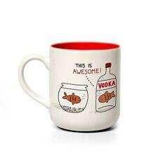 TAZZA in ceramica in scatola. VODKA i pesci rossi, Gemma Correll. Tè/Caffè Coppa. HOME. regalo.