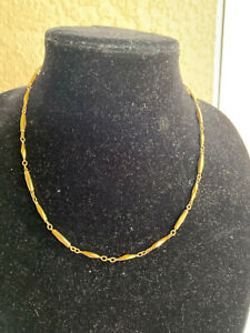 NIKKEN Therapeutic Magnetic Necklace; Gold tone; Diamond Cut Style