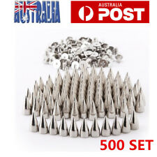 500 Set Silver Metal Studs Rivet Bullet Spike Cone Screw Leather Craft 7X9.5mm
