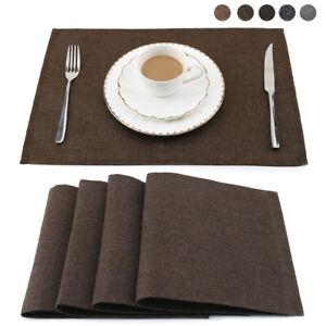 4* Tischset 45x30cm Abwaschbar Leinenimitat Platzmatte Platzdeckchen Untersetzer