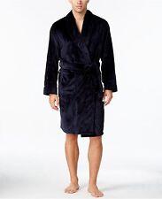 $195 CLUB ROOM Men BATH ROBE Plush Blue Texture LOUNGE SLEEPWEAR PAJAMA One Size