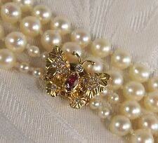 Uniform 2 row Japanese Akoya Pearl necklace 18ct Diamond & ruby Butterfly clasp