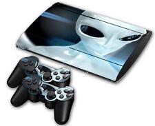 PS3 PlayStation 3 Super Slim Skin Design Foils Aufkleber Schutzfolie Set - Alien