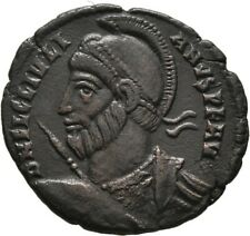 LANZ ROMAN EMPIRE JULIAN II NUMMUS ROME BRONZE HELMET SPEAR WREATH §DKA241