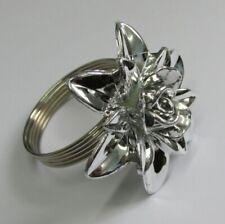 4 Premier Decorations Christmas Napkin Rings Silver Colour Flower Design