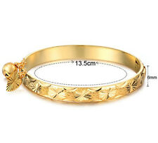 Hot Gold Plated Newborn Baby Bracelet Bangle for Infant With Bell Heart Leaf