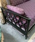 """Magnificent Antique Directoire Day Bed - Black Lacquer Finish - """"X"""" Pattern"""
