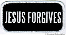 JESUS FORGIVES RELIGIOUS BIKER PATCH iron-on CHRISTIAN embroidered applique