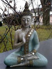 XL Thai Buddha Budda Figur Statue Feng Shui sitzend türkis / mint  ca. 30 cm NEU