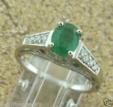 1.51 ct 14k Solid White Gold Ladies Colombian Emerald & Diamond Ring made in USA