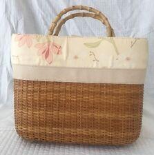 Bath And Body Works Straw Purse Bag Wooden Handles