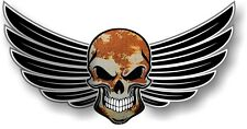 WINGED Biker SKULL wings Retro Rat look Rusty Metal Rust car bike sticker Decal