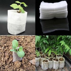 100Pcs White Seedling Bag Small Plant Growth Nursery Nonwoven Fabrics Gardening