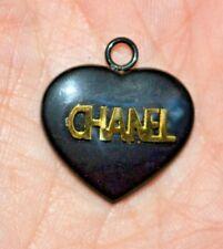 vintage CHANEL black HEART  logo pendant GOLD CHANEL WORD ACROSS HEART