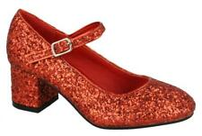 GIRLS RED LOW HEEL SHOES BRIDESMAID PARTY WEDDING MARY JANE COURT UK SIZE 10-2