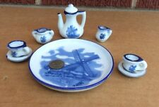 DELFT BLUE CHINA Windmill Scene MINIATURE DOLL TEA SET w/ TRAY Hand Painted