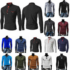 Mens Henley Button Long Sleeve Casual Slim Fit Shirt Tee Muscle T-shirt Tops UK