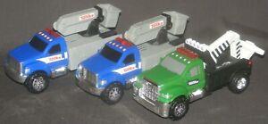 Tonka Green Tow Truck & 2 Blue Bucket Trucks Lights & Sounds