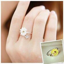 Tono argento bianco Daisy Gem anello aperto 50s 60s Stile Retrò Vintage Jewelry