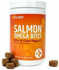 Pet MD Salmon Oil Omega 3 for Dogs - Advanced Allergy & Itch Relief 120ct