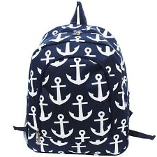 Anchor Print Backpack Navy Blue Nylon NGIL