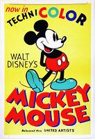 Hi-Q XL-Format Facsmile 1935 Walt Disney's Mickey Mouse Technicolor Poster 36x24