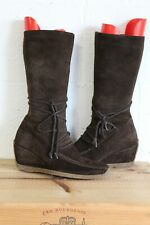 BROWN SUEDE WEDGE HEEL MID CALF BOOTS SIZE 4 / 37 BY COUNTRY JACKS USED CON