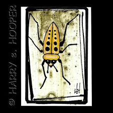 """hand painted  ACEO original art card * by HeH  """"Bug 2"""" large yellow insect"""