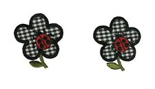 #4335 Lot 2Pcs Plaid Flower w/Ladybug Embroidery Iron On Applique Patch