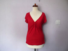 HOBBS Womens Size  M Red Modal Tshirt Top Gathered front V-neck  Summer