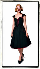 S 6 36 RETRO 50s BLACK RED VTG POCKETS COUTURE ROCKABILLY SWING DAY PINUP DRESS